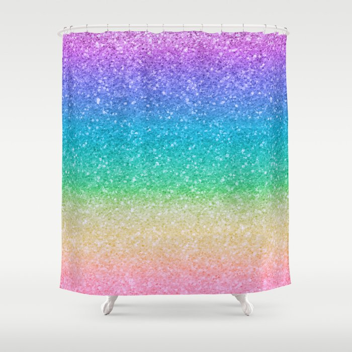 Rainbow Glitter Shower Curtain