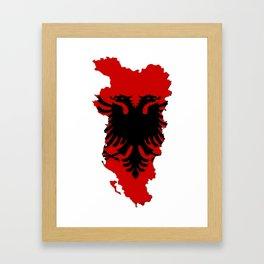 Albania Map with Albanian Flag Framed Art Print