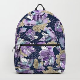 Amethyst Crystal Clusters / Violet, Blue and Gold Backpack