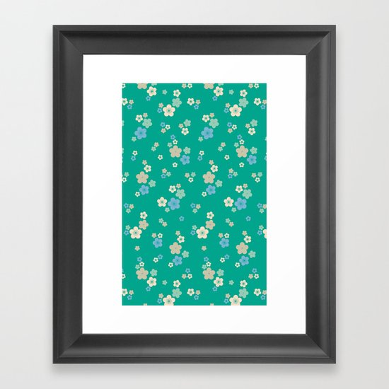 blossom ditsy in emerald Framed Art Print