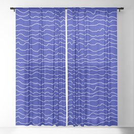 Blue with White Squiggly Lines Sheer Curtain