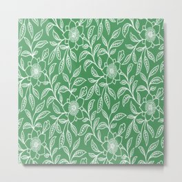 Vintage Lace Floral Green Metal Print