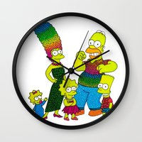 simpsons Wall Clocks featuring The Simpsons by Luna Portnoi