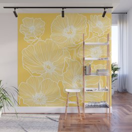 Sunshine Yellow Poppies Wall Mural