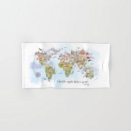 World Map Watercolor Hand & Bath Towel