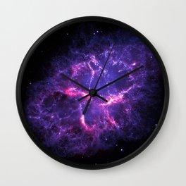 Pink Purple Crab Nebula Wall Clock
