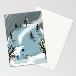 Winter Starry Night Walk Stationery Cards
