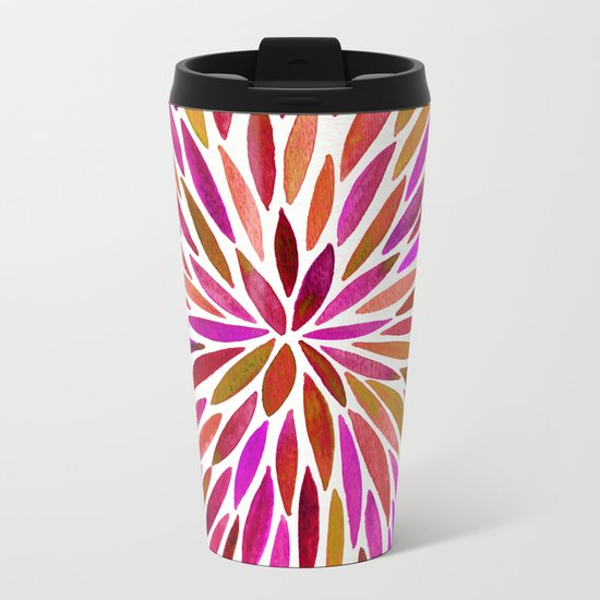 Pink Watercolor Burst Metal Travel Mug