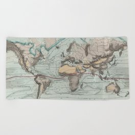 Vintage Physical Map of The World (1849) Beach Towel