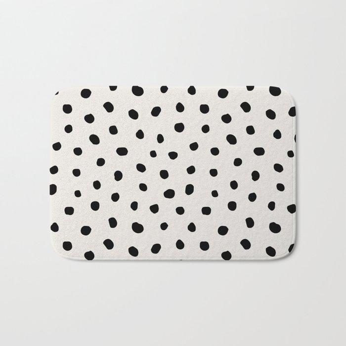 Modern Polka Dots Black On Light Gray Bath Mat By Followmeinstead