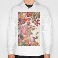 boston Hoodies featuring Boston by MapMapMaps.Watercolors