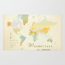 Wanderlust Vintage World Map Art Print Rug