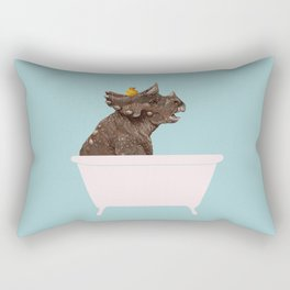 Playful Triceratop in Bathtub Rectangular Pillow