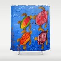 swimming Shower Curtains featuring Swimming by Montes Arte Mexicano