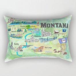 USA Montana State Illustrated Travel Poster Favorite Map Rectangular Pillow
