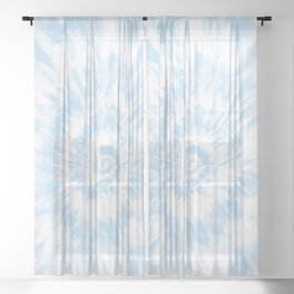 Lighter Ocean Blue Tie Dye Sheer Curtain