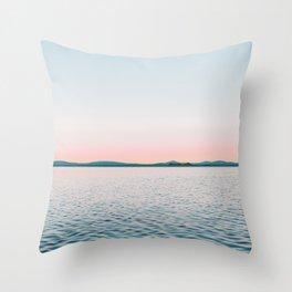 Pink, Blue, Landscape, Water, Nature, Modern art, Scandinavian, Art, Minimal, Wall art Throw Pillow