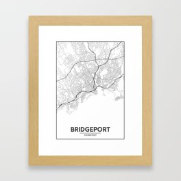 Minimal City Maps - Map Of Bridgeport, Connecticut, United States Framed Art Print