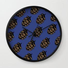 Blue Pinecone Pattern Wall Clock