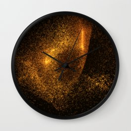 Abstract orange glowing particles Wall Clock