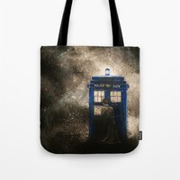 dr who Tote Bags featuring Dr. Who by Redeemed Ink by - Kagan Masters
