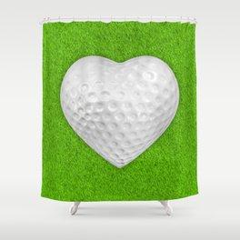 Golf ball heart / 3D render of heart shaped golf ball Shower Curtain