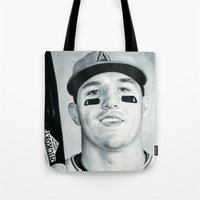 trout Tote Bags featuring Mike Trout by emilypaints