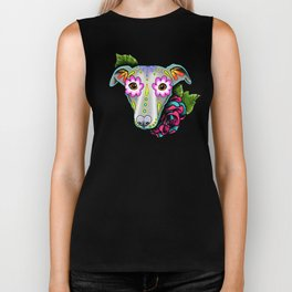Greyhound - Whippet - Day of the Dead Sugar Skull Dog Biker Tank