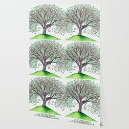 Morovis Whimsical Cats in Tree Wallpaper