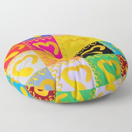 Gold Hearts on colorful Stamp Floor Pillow