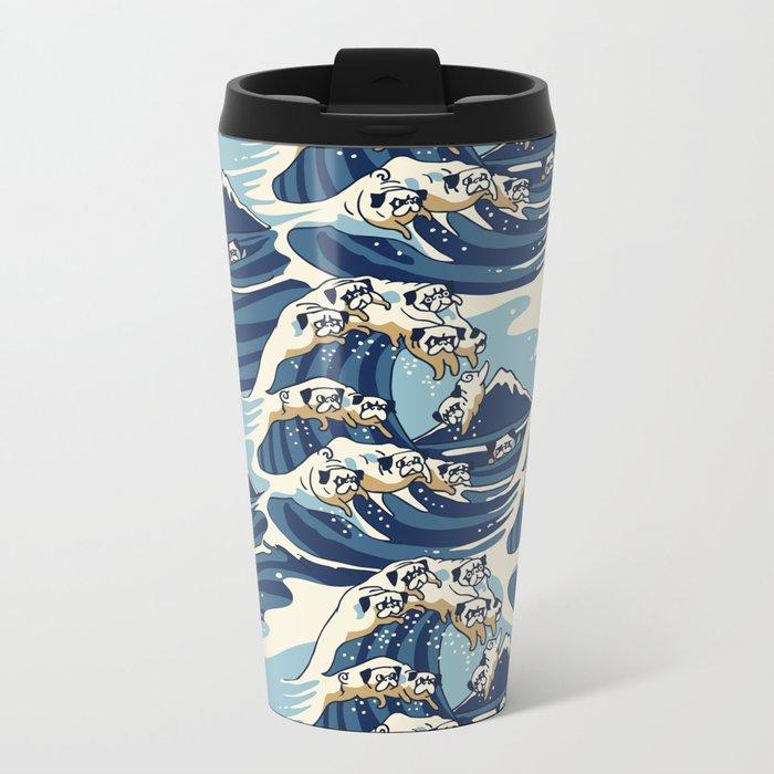 The Great Wave of Pug Pattern Metal Travel Mug