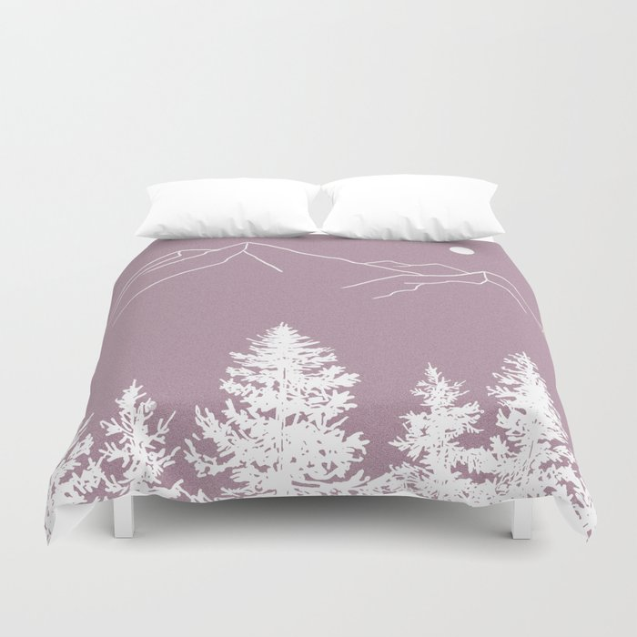 Forest At Dusk Wallpaper: Mountains And Forest At Dusk Duvet Cover By Jackiefarkas