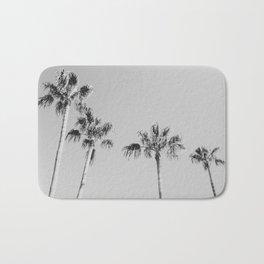 Black Palms // Monotone Gray Beach Photography Vintage Palm Tree Surfer Vibes Home Decor Bath Mat