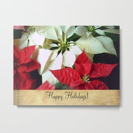 Mixed Color Poinsettias 2 Happy Holidays S2F1 Metal Print