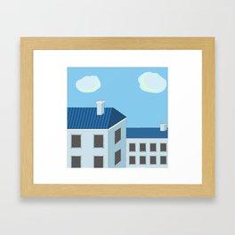 Blue roofs Framed Art Print