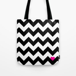 Heart & Chevron - Black/Pink Tote Bag