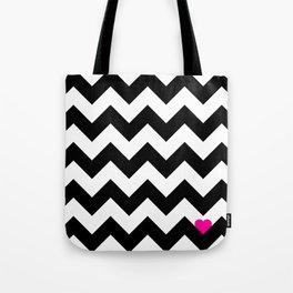 Heart & Chevron - Black/Pink Tote Bag