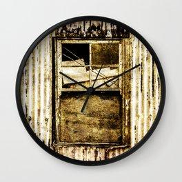 Window in a tin wall Wall Clock
