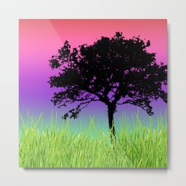 Tree Silhouette on Grassy Plain Gradient Sky Metal Print