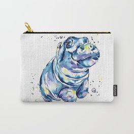 Hippo Colorful Watercolor Hippo Painting - Grace Carry-All Pouch