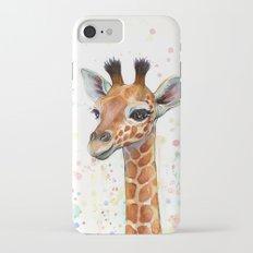 Giraffe Baby Animal Watercolor Whimsical Nursery Animals iPhone 7 Slim Case