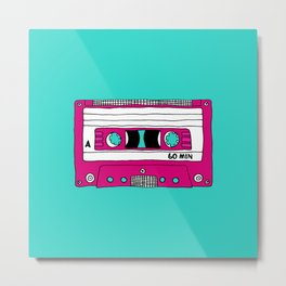 Vintage Mix Tape // Blue and Pink Metal Print