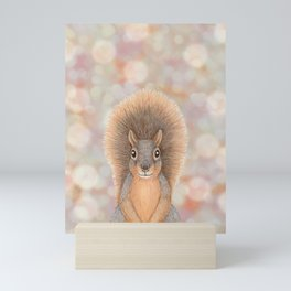 fox squirrel woodland animal portrait Mini Art Print