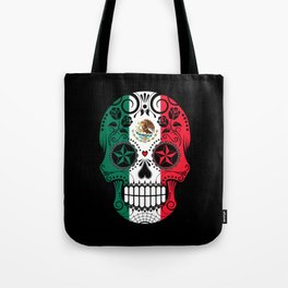 Sugar Skull with Roses and Flag of Mexico Tote Bag