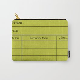 LiBRARY BOOK CARD (lime) Carry-All Pouch