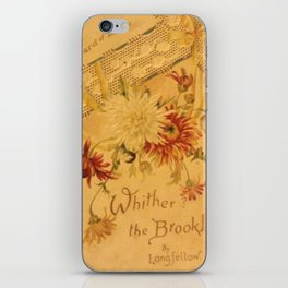 Antique Book Cover for literacy lovers  Floral with ivory and red #longfellow #poetry iPhone Skin