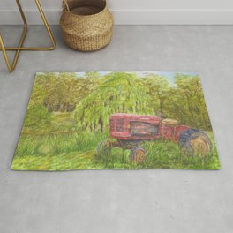Old Massey Harris 55 tractor in rural France Rug