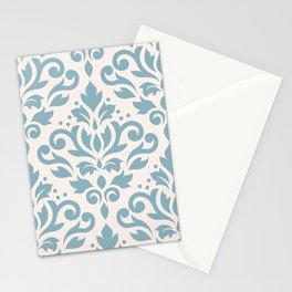 Scroll Damask Large Pattern Blue on Cream Stationery Cards