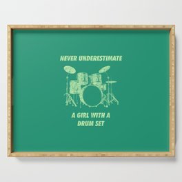 Never Underestimate A Girl With A Drum Set Funny Drums Vintage Drummer Distressed Serving Tray