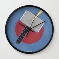 thor Wall Clocks featuring Thor by Steal This Art